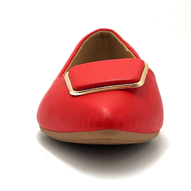 Forever Link Stella-54 Red Color Ballerina Front View, Women Shoes