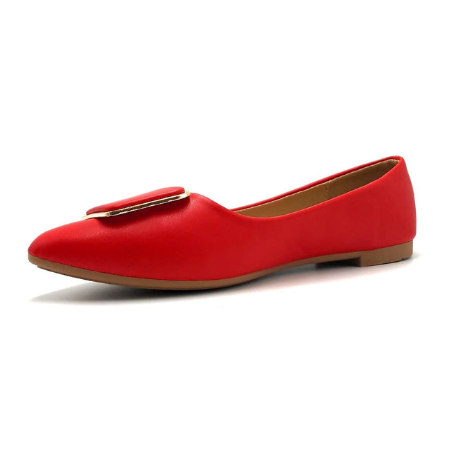 Forever Link Stella-54 Red Color Ballerina Left Side view, Women Shoes