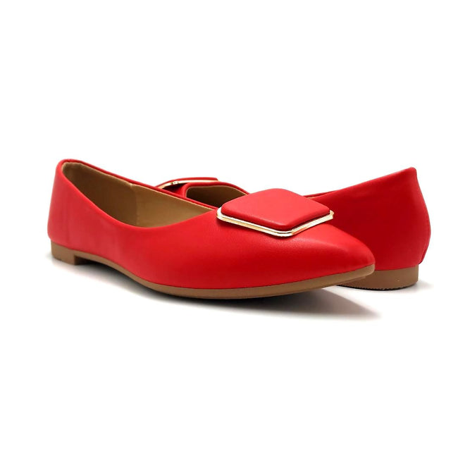Forever Link Stella-54 Red Color Ballerina Both Shoes together, Women Shoes