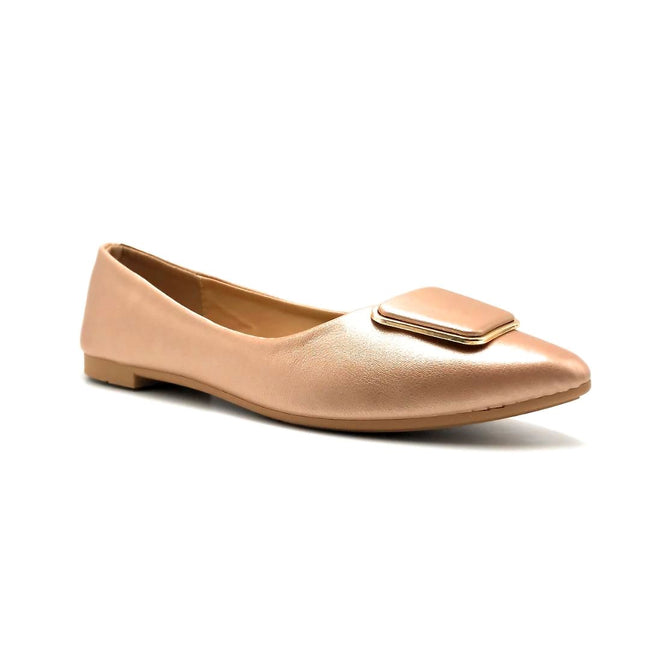 Forever Link Stella-54 Rose Gold Color Ballerina Right Side View, Women Shoes
