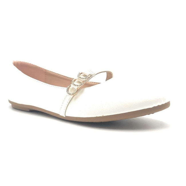 Forever Link Supple-69 White Color Ballerina Shoes for Women