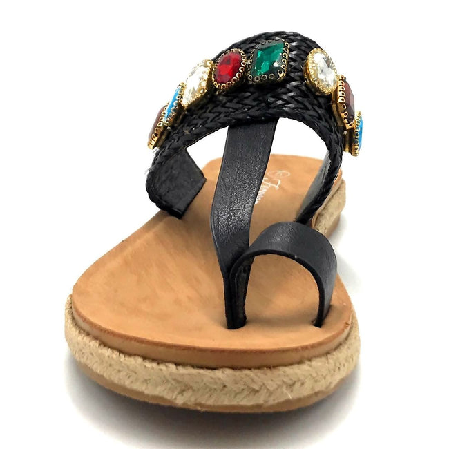 Forever Link Top Line-2 Black Color Flat-Sandals Shoes for Women