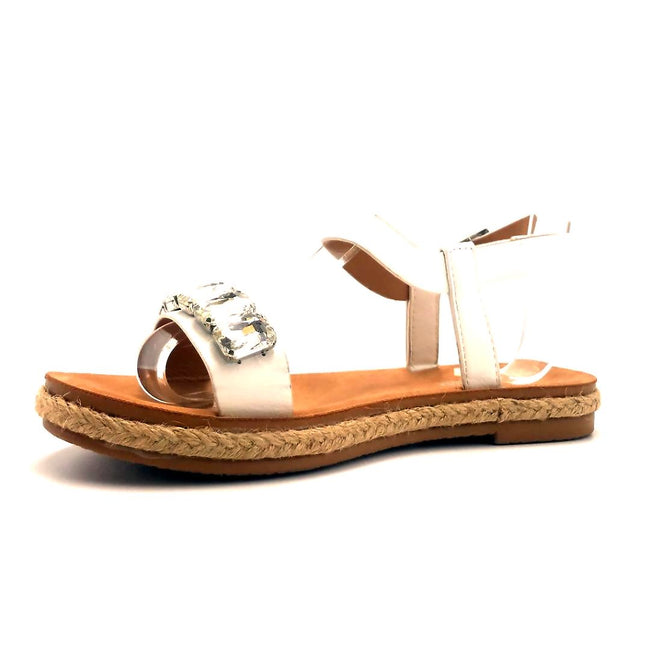 Forever Link Top Line-9 White Color Flat-Sandals Shoes for Women