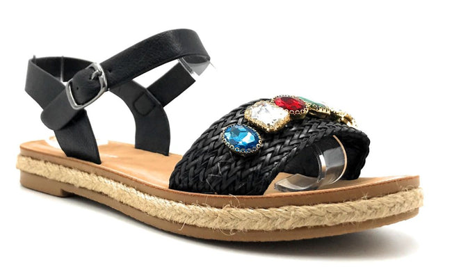 Forever Link Topline-3 Black Color Flat-Sandals Right Side View, Women Shoes