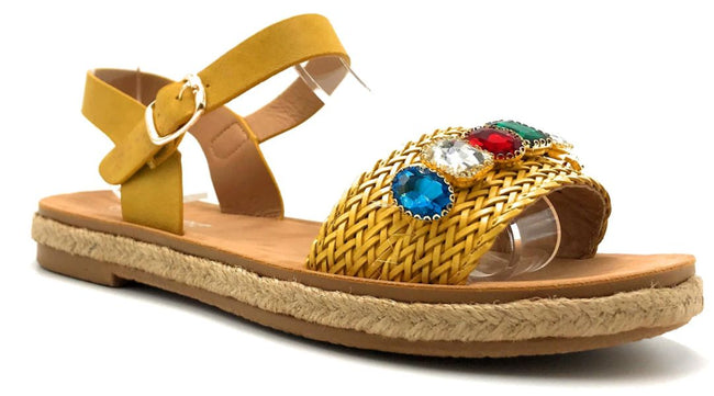 Forever Link Topline-3 Mustard Color Flat-Sandals Right Side View, Women Shoes