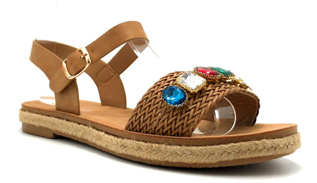 Forever Link Topline-3 Tan Color Flat-Sandals Right Side View, Women Shoes