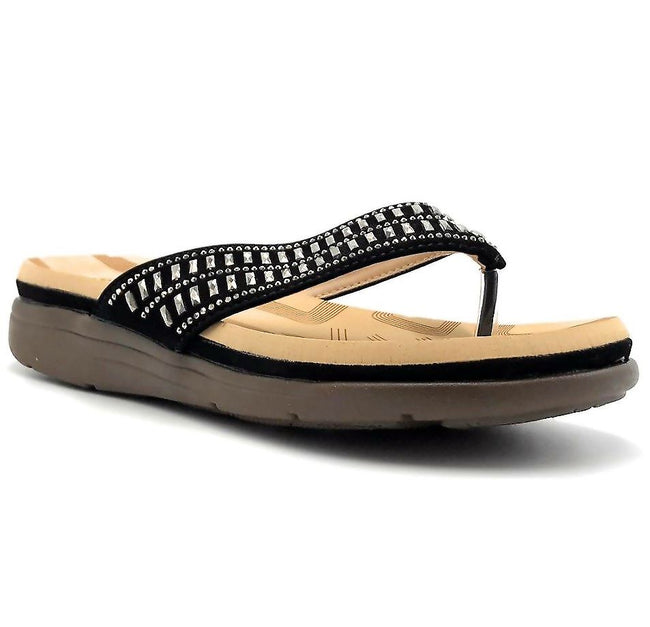 Forever Link Tracy-27 Black Nub Color Flat-Sandals Shoes for Women