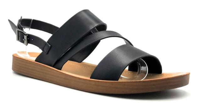 Forever Link Yara-02 Black Color Flat-Sandals Right Side View, Women Shoes