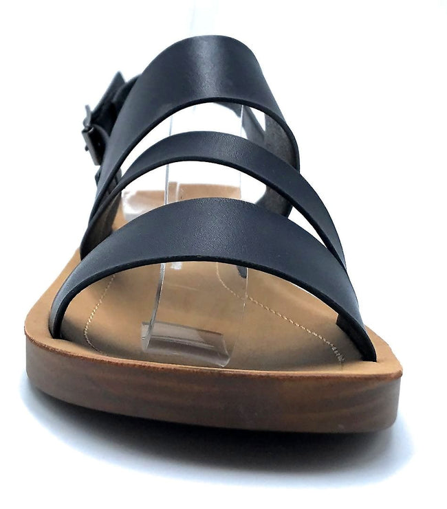 Forever Link Yara-02 Black Color Flat-Sandals Front View, Women Shoes