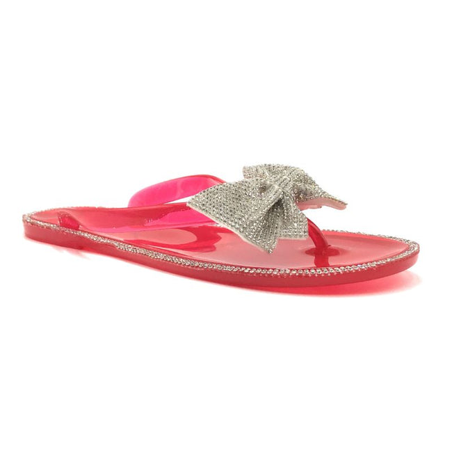 Forever Lucid-13 Neon Red Color Flat-Sandals Right Side View, Women Shoes