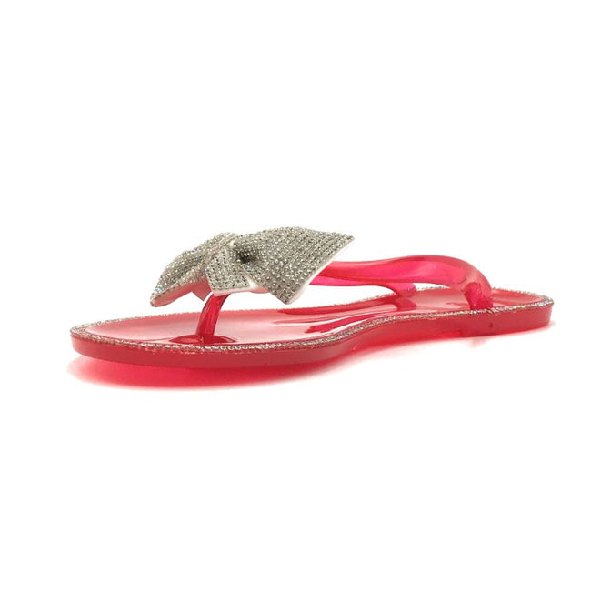 Forever Lucid-13 Neon Red Color Flat-Sandals Left Side view, Women Shoes