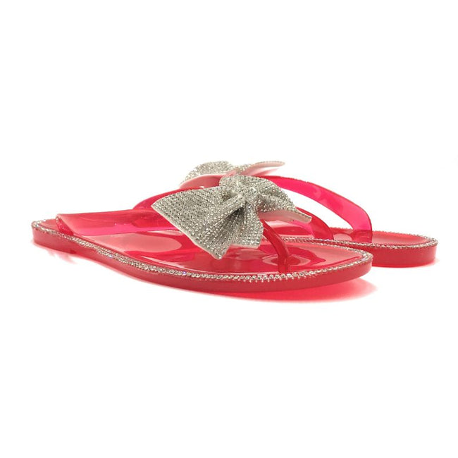 Forever Lucid-13 Neon Red Color Flat-Sandals Both Shoes together, Women Shoes