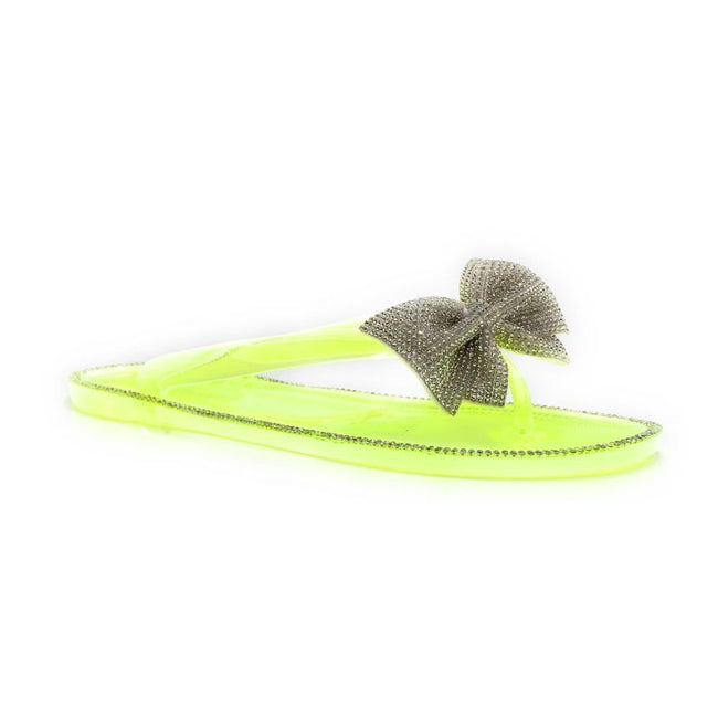Forever Lucid-13 Neon Yellow Color Flat-Sandals Right Side View, Women Shoes