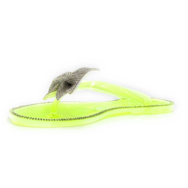 Forever Lucid-13 Neon Yellow Color Flat-Sandals Left Side view, Women Shoes