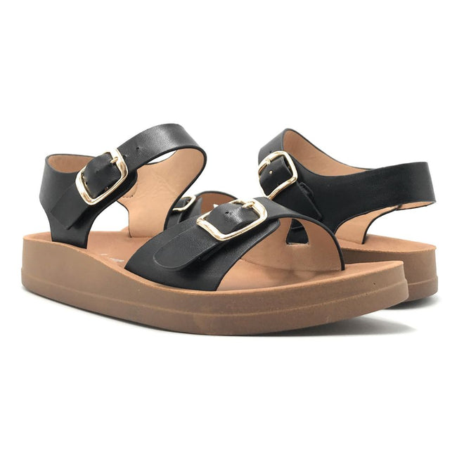 Forever Luisa-13 Black Color Flat-Sandals Shoes for Women