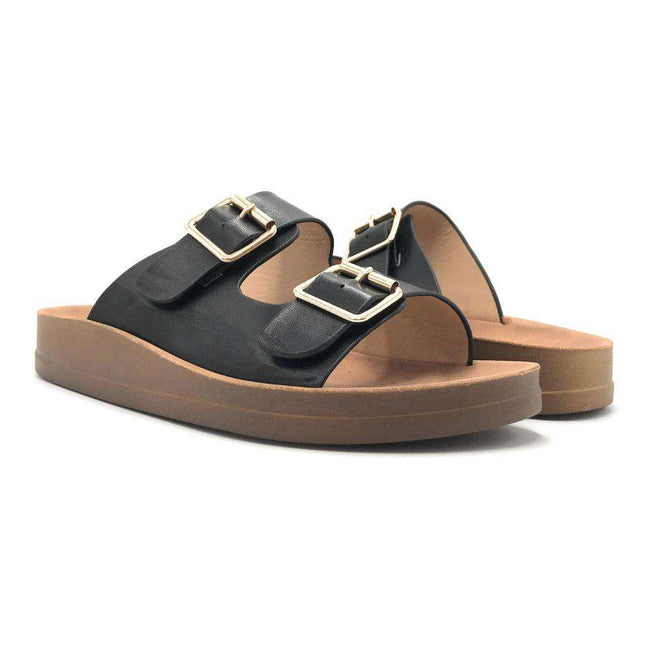 Forever Luisa-5 Black Color Flat-Sandals Shoes for Women