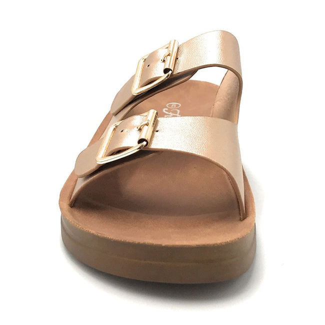 Forever Luisa-5 Rose Gold Color Flat-Sandals Shoes for Women