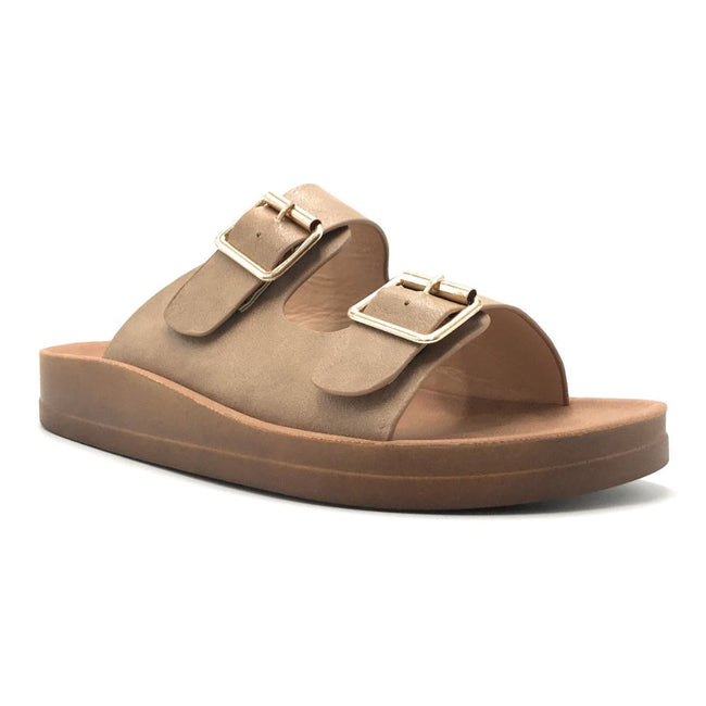 Forever Luisa-5 Taupe Color Flat-Sandals Shoes for Women