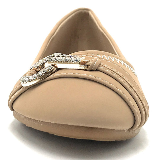 Forever Mika-77 Taupe Color Ballerina Shoes for Women