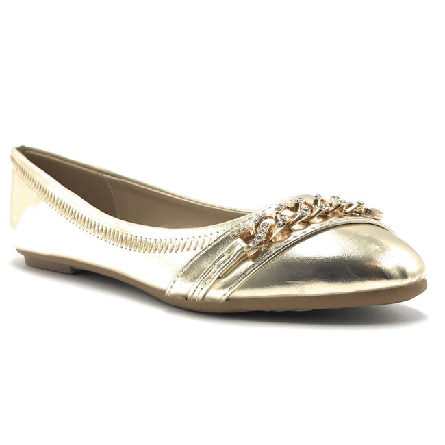 Forever Mika-79 Gold Color Ballerina Shoes for Women