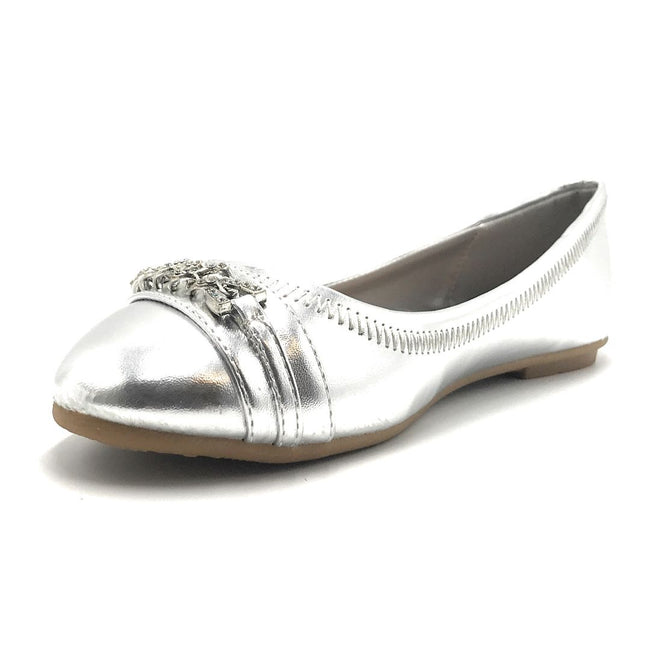 Forever Mika-79 Silver Color Ballerina Shoes for Women
