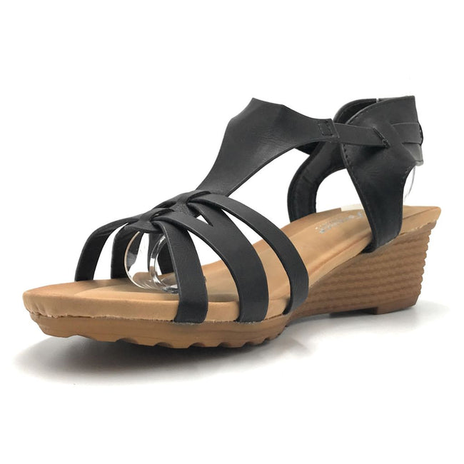 Forever Nibble-9 Black Color Flat-Sandals Shoes for Women
