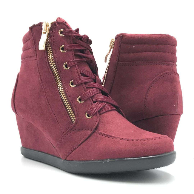 Forever Peggy-56 Burgundy Color Boots Shoes for Women