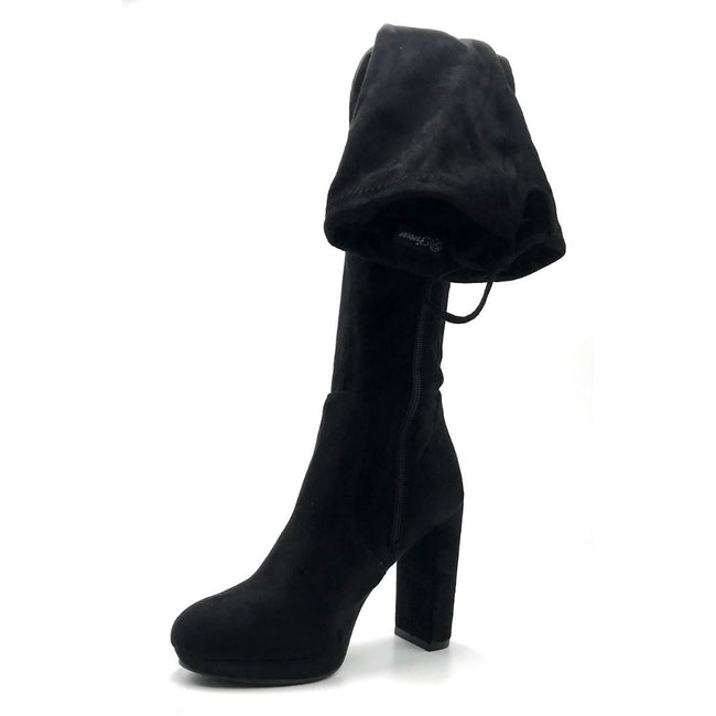 Forever Platty-22 Black Color Boots Left Side view, Women Shoes