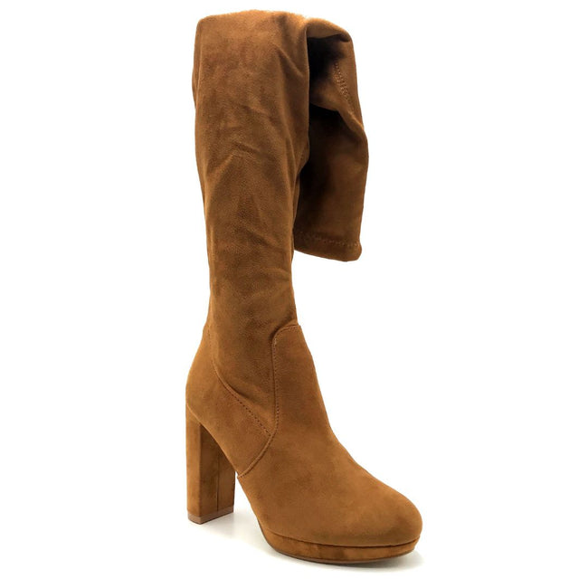 Forever Platty-22 Tan Color Boots Right Side View, Women Shoes