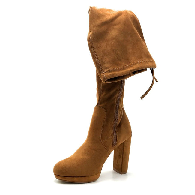 Forever Platty-22 Tan Color Boots Left Side view, Women Shoes