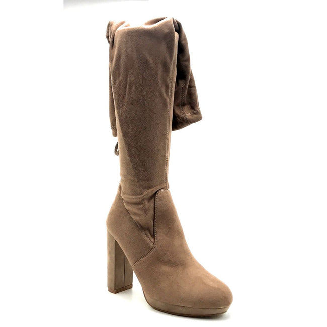 Forever Platty-22 Taupe Color Boots Right Side View, Women Shoes