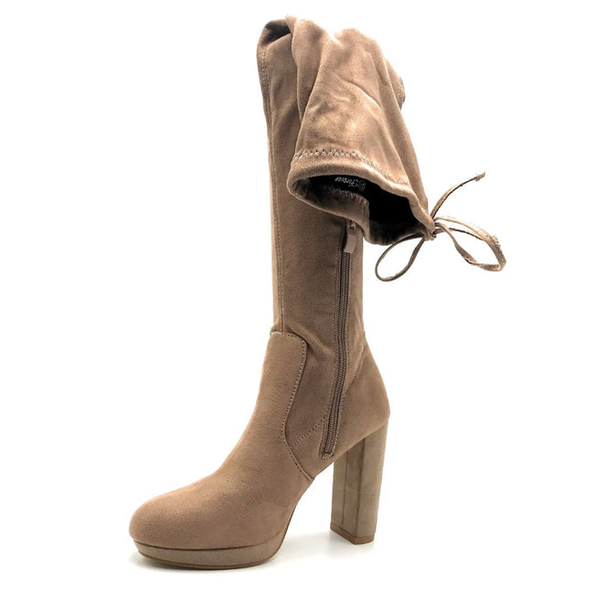 Forever Platty-22 Taupe Color Boots Left Side view, Women Shoes