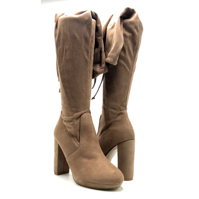 Forever Platty-22 Taupe Color Boots Both Shoes together, Women Shoes