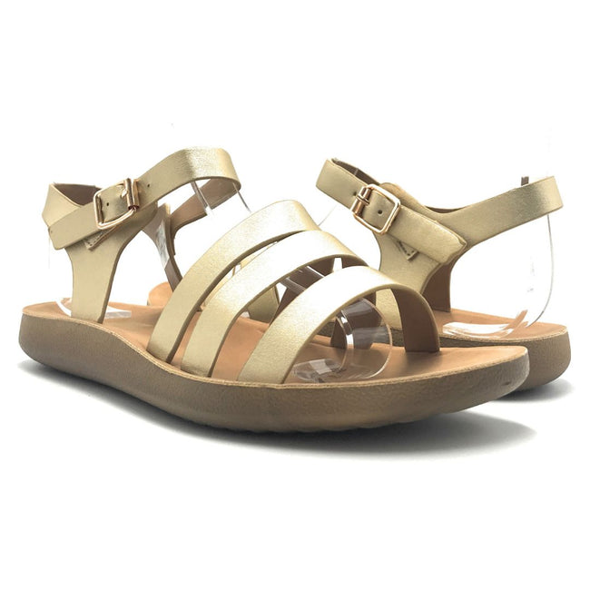 Forever Recent-20 Gold Color Flat-Sandals Shoes for Women