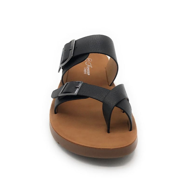 Forever Reform-2 Black Color Flat-Sandals Shoes for Women