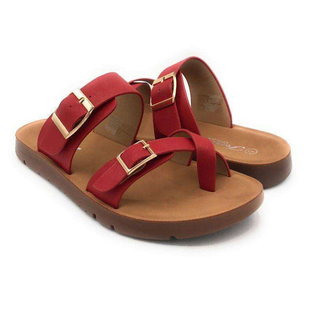 Forever Reform-2 Red Color Flat-Sandals Shoes for Women