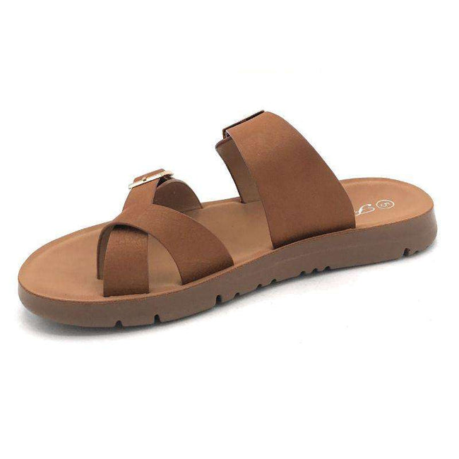 Forever Reform-2 Tan Color Flat-Sandals Shoes for Women