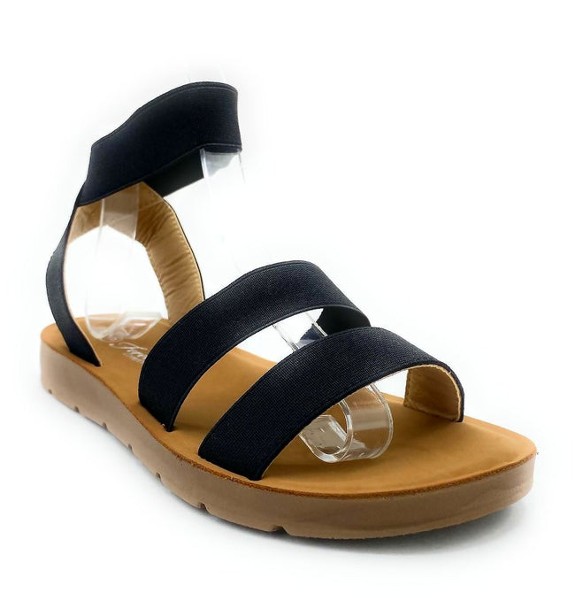 Forever Reform-54 Black Color Flat-Sandals Right Side View, Women Shoes