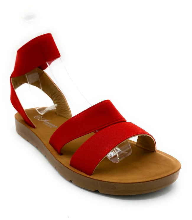 Forever Reform-54 Red Color Flat-Sandals Right Side View, Women Shoes