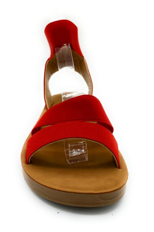 Forever Reform-54 Red Color Flat-Sandals Front View, Women Shoes