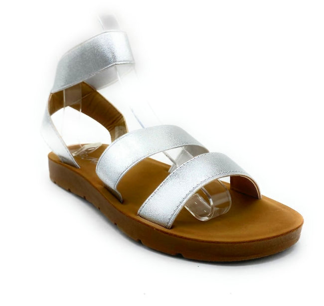 Forever Reform-54 Silver Color Flat-Sandals Right Side View, Women Shoes