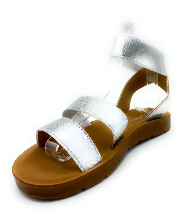 Forever Reform-54 Silver Color Flat-Sandals Left Side view, Women Shoes