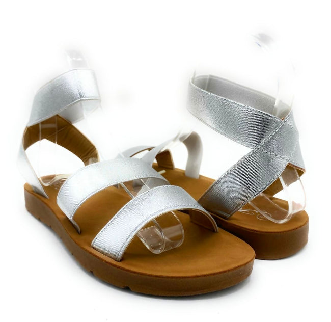 Forever Reform-54 Silver Color Flat-Sandals Both Shoes together, Women Shoes