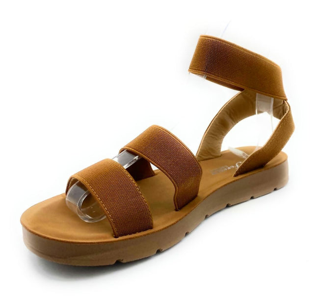 Forever Reform-54 Tan Color Flat-Sandals Left Side view, Women Shoes