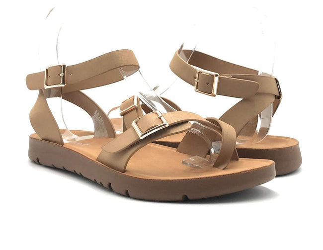 Forever Reform-58 Taupe Color Flat-Sandals Shoes for Women