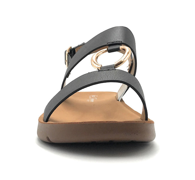 Forever Link Reform-62 Black Color Flat-Sandals Shoes for Women