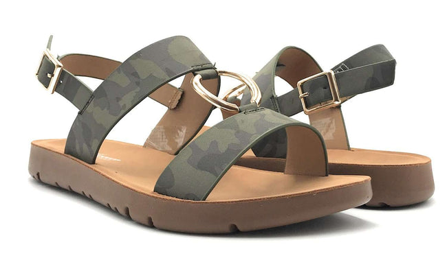 Forever Link Reform-62 Camouflage Color Flat-Sandals Shoes for Women