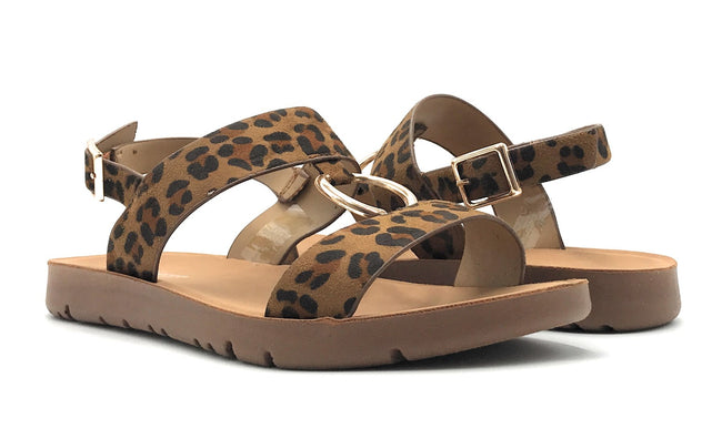 Forever Link Reform-62 Leopard Color Flat-Sandals Shoes for Women