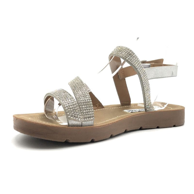Forever Reform-75 Silver Color Flat-Sandals Shoes for Women