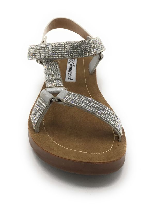 Forever Reform-76 Silver Color Flat-Sandals Shoes for Women